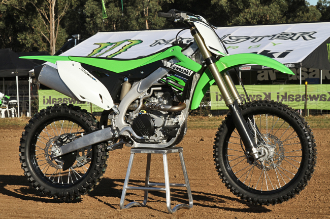 Kawasaki's 2012 model KX450F was launched at Appin in Sydney. Image: Alex Gobert.