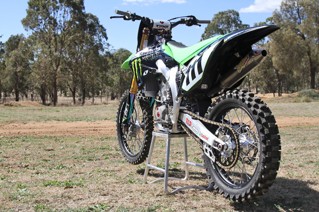 Monster Energy Kawasaki provided Dean Ferris' factory KX450F for us to test at a private track in Toowoomba. Image: Alex Gobert.