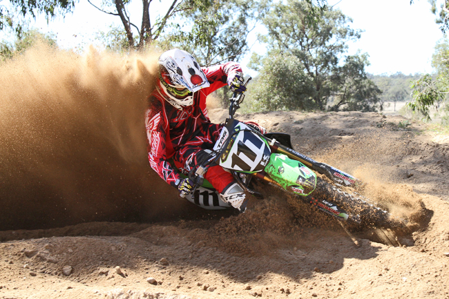 MotoOnline.com.au had MX Nationals regular Aiden de Jager come test with us for Monster Energy Kawasaki. Image: Alex Gobert.