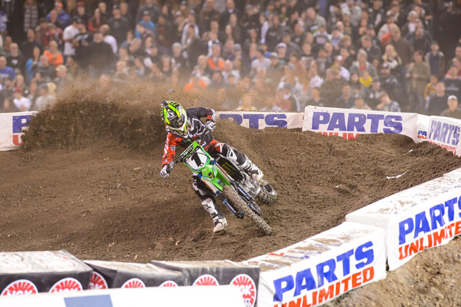 Monster Energy Kawasaki's Ryan Villopoto made it two wins in a row at Oakland. Image: Simon Cudby.