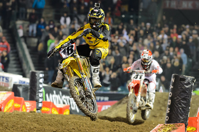 The battle between Davi Millsaps and Trey Canard at Anaheim 1 was a highlight of the Supercross season. Image: Simon Cudby.