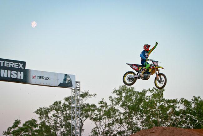 Motul Pirelli Suzuki's Matt Moss celebrated two wins from two in the Top End. Image: Grant Reynolds/FiftySix Clix.